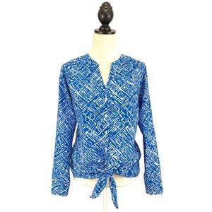 Ann Taylor Blue Tie Front Button Up Blouse Small
